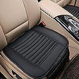 HJJH Auto Sitzkissen, PU Leder Sitzkissenbezug, 1 Stück Atmungsaktiv Weichen Auto Sitzbezug Für Auto Auto Bürobedarf (Schwarz)