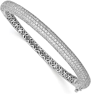 925 Sterling Silver 283 Stone Cubic Zirconia Cz Bangle Bracelet Cuff Expandable Stackable Hinged Fine Jewelry Gifts For Women For Her