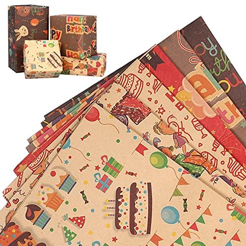 Geschenkpapier 6 Stück - funvce Kraft Geschenkpapier Geburtstag 70 cm x 50 cm DIY Kinder Geschenkverpackung Papier Gefaltetes Papier für Geburtstag, Party, DIY Craft