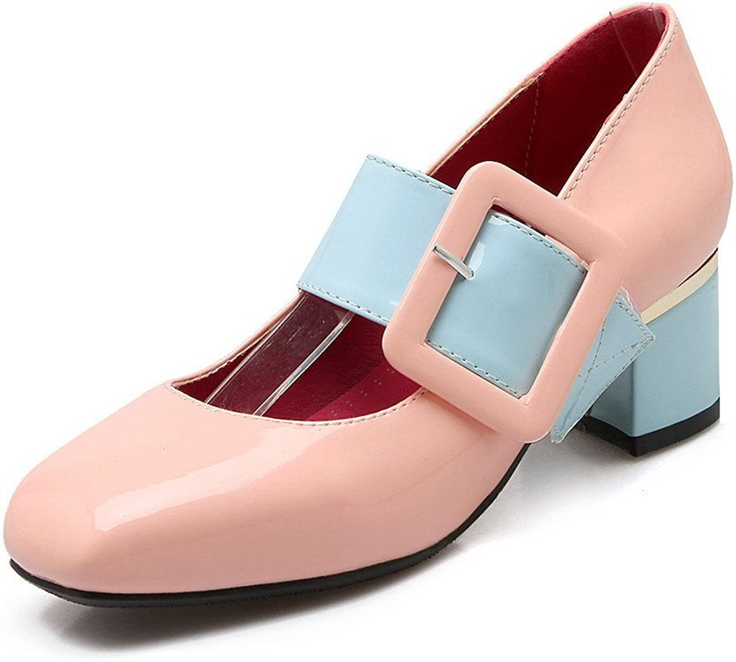 AmoonyFashion Women's Buckle Kitten Heels Enamelled Leather Square Closed Toe Pumps-shoes