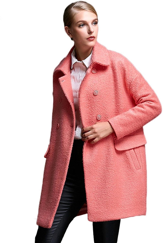 Insun Women's Casual Lapel Collar Double Breasted Long Wool Coat Overcoat