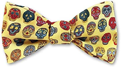 product image for Josh Bach Men's Day of the Dead Self Tie Silk Bow Tie in Yellow, Made in USA