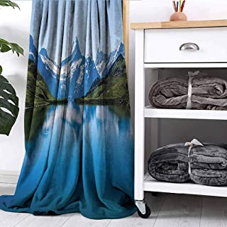 FOEYESEE Blanket Famous Majestic Snowy Peaks in Northern Europe Like Pyramids Made by High Hills Alps Blue Green Sofa Camping Reading car Travel W54 xL84