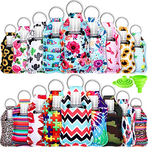 18 Sets Empty Travel Bottle Keychain Holder Set Leak-proof Refillable 30 ml/ 1 oz Empty Bottle Portable Travel Bottle Container with Flip Cap and 2 Silicone Funnel for Travel (Stylish Pattern)