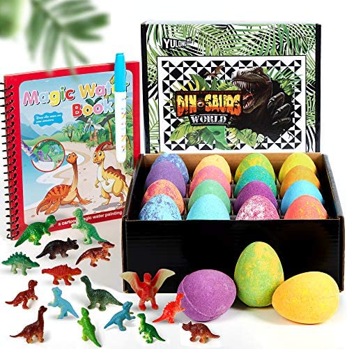 Kids Dinosaur Eggs Bath Bombs with Surprise Inside 16 Colorful Dino Eggs Bubble Bath with Dinosaurs product image