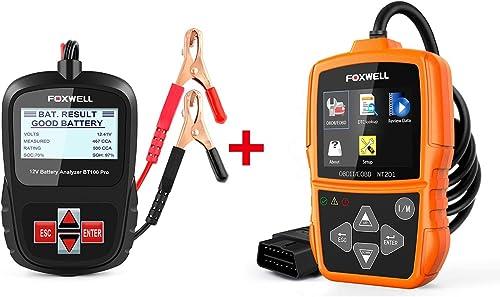 2021 FOXWELL Car Professional Diagnostic outlet sale Tool Set(12v Battery Tester new arrival BT100 Pro + OBDII Car Scanner NT201) outlet online sale