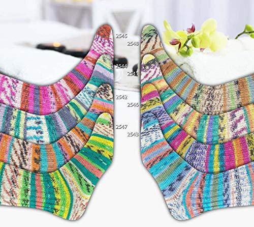 8 x 100g Sockenwolle Paket Online Supersocke 295 Wellness Color, 800g Sockenwolle mit Seide, 4-fädig, 4ply, zum Stricken oder Häkeln