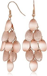 Brushed Satin Rose Gold Plated Drop Dangle Earrings Chandelier Earrings for Women