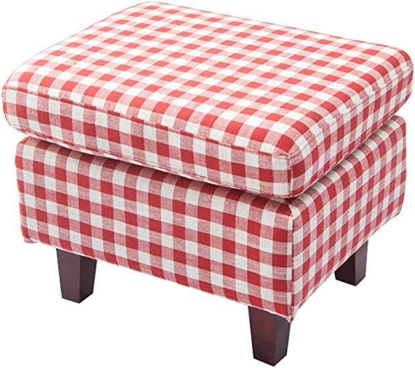 OUG Solid Wood Home Storage Stool Modern Living Room Change Shoes Stool Bedroom Fabric Red Lattice Creative