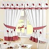 Bordado de flores amapolas cortina de cortinas plisadas de cocina Galería de cuadros, rojo/blanco, 345 x 25 cm
