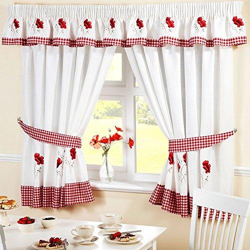 Homespace Direct Rideaux de Cuisine plissés à Motif Floral brodé - Bordure et embrasses à Carreaux Rouges, Polyester, Rouge/Blanc, 66 x 54-inch