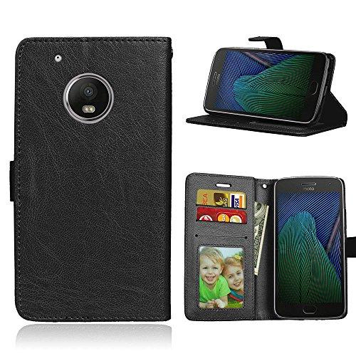 Capa para Motorola Moto G5 Plus/X4/X 2017 XT1684 XT1685 proteção de couro PU com 3 compartimentos para cartões capa flip (Preto)