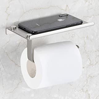 Bosszi Toilet Paper Holder with Phone Shelf Wall Mounted, SUS304 Stainless Steel Bathroom Accessories Tissues Roll Dispenser Storage Rack, Brushed