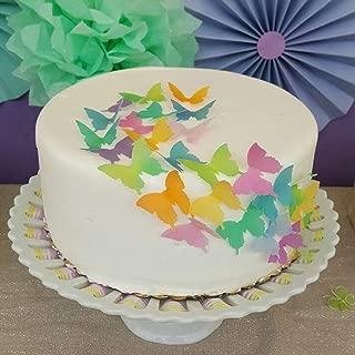 Chockacake Edible Large Butterflies Set of 24,Wedding Rainbow Cake Topper,Birthday Cake Decorations