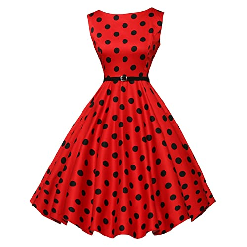 buy popular 0b8ad ef20c GRACE KARIN Boatneck Sleeveless Vintage Tea Dress Belt
