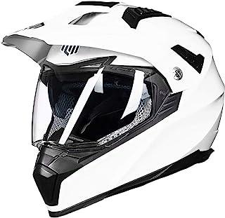 ILM Off Road Motorcycle Dual Sport Helmet Full Face Sun Visor Dirt Bike ATV Motocross Casco DOT Certified (L, White)