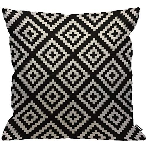 HGOD DESIGNS Black and White Jagged Cushion Cover,Navajo Geometric Abstract Throw Pillow Case Home Decorative for Men/Women Living Room Bedroom Sofa Chair 18X18 Inch Pillowcase 45X45cm