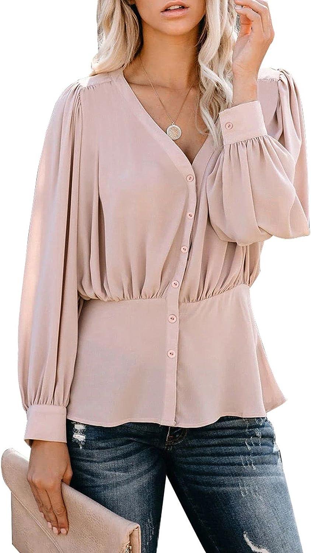 Pink Wind Women's V Neck Peplum Blouse Chiffon Tops Long Sleeve Pleated Button Down Shirts