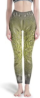 Gray-Yellow Gradient Mandela High Waist Out Sports Gym Running Pants - 4 Way Stretch Compression Yoga Pants Leggings Mandela Art