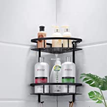 Zwart ponsvrije badkamerplank, ruimte aluminium aan de muur bevestigde driehoekige mand, badkamermeubel opbergrek, hoekfra...
