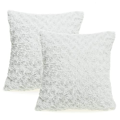 a056a575cafd8 Valea Home Decorative Swirl Style Super Soft Faux Fur Throw Pillow Case  Cushion Cover Set 18