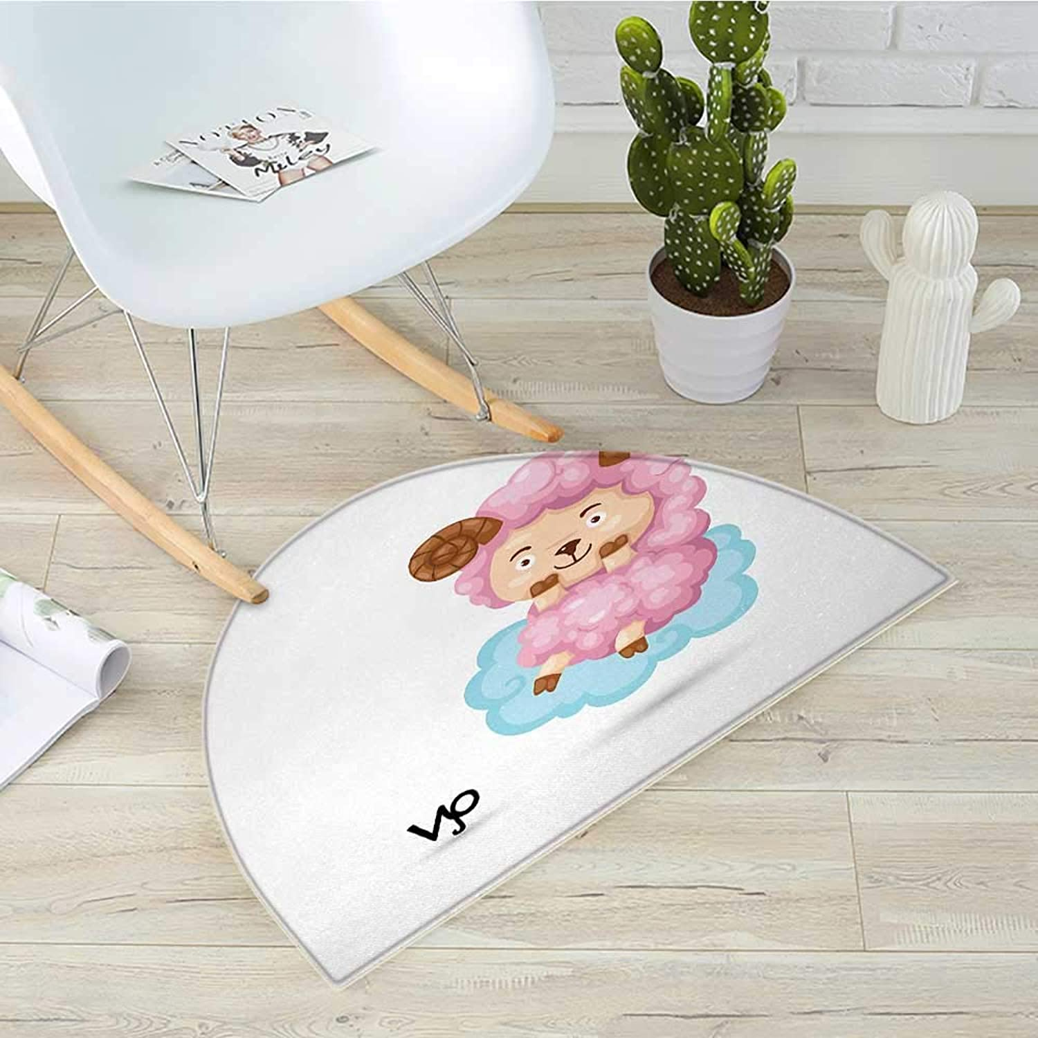 Zodiac Aries Semicircular CushionCartoon Style Funny Sheep Sitting on a bluee Cloud Birth and Future Kids Design Entry Door Mat H 35.4  xD 53.1  Multicolor