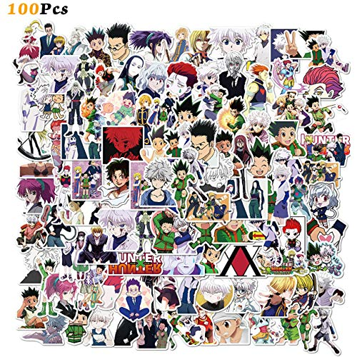 100PCS Hunter X Hunter Stickers Japanese Cartoon Anime Stickers Waterproof Vinyl Stickers for Kids Teens Adults Water Bottle Laptop Suitcase Luggage Skateboard Decoration