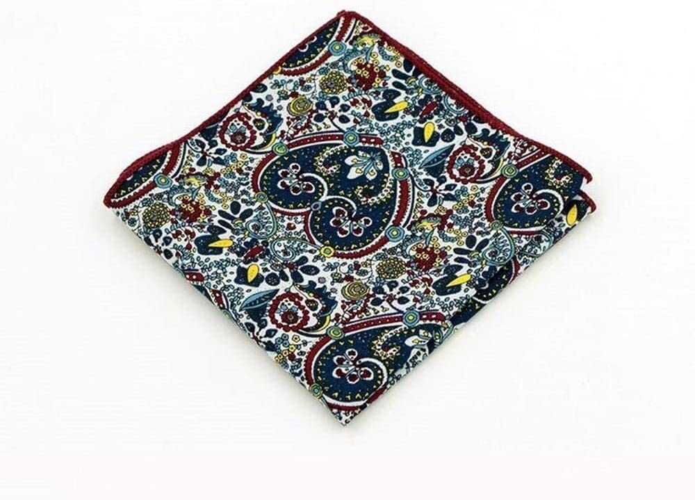 WYKDL Men's Retro Printed Cotton Pocket Towel Floral Leopard Handkerchief with The Same Paragraph Fashion Cotton Small Square