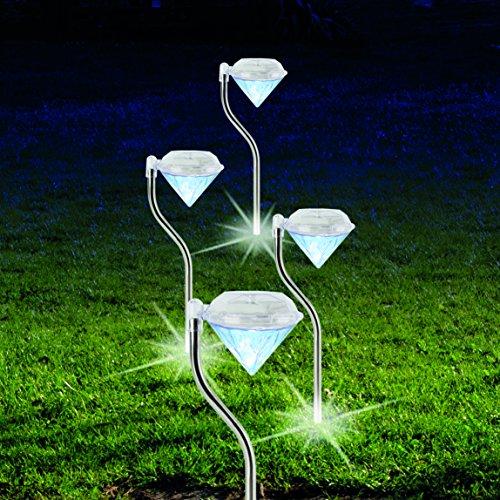 Solar Leuchte Diamant 4 Stück Außenbeleuchtung Garten Beleuchtung Weiss