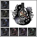 1 pieza rock music guitarra y batería set disco de vinilo reloj de pared lámpara de pared moderna instrumento musical LED luz nocturna guitarra regalo 12 pulgadas con luz LED