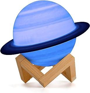 15 cm Saturno Planet Lámpara, AMZJUPWM 3D Impresión 16 Colores con Soporte, Control Táctil y Portátil USB Recargable para Decoración del Hogar y Regalos para Niños, Amigos, Amantes (Saturno)