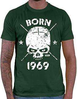 Hariz Born 1969 - Camiseta de manga corta para hombre, diseño de calavera con 50 cumpleaños
