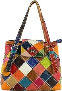 Heshe Women's Leather Multi-color Tote Handbags Shoulder Bags Ladies Purses Hobo Cross Body Bag