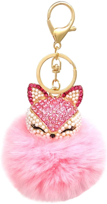 Honbay Faux Rabbit Fur Pom Pom Keychain Fashion Fox Head Keychain with Rhinestones for Womens Bag, School Bag, Cellphone or Car Pendant (Pink)