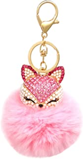 Honbay Faux Rabbit Fur Pom Pom Keychain Fashion Fox Head Keychain with Rhinestones for Womens Bag, School Bag, Cellphone o...