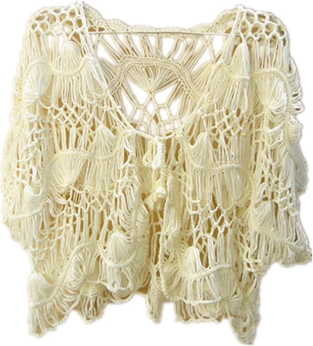 tinacrochetstudio Black Crop Top Crochet Cardigan Shrug Bolero Jacket