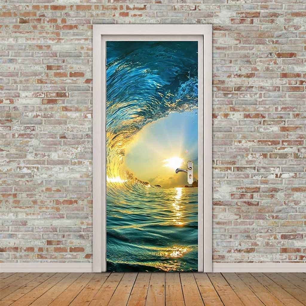 KFEOEA Door Mural 3D Cheap mail order specialty store Vinyl Wallpaper Beach Waves Landscape Spasm price