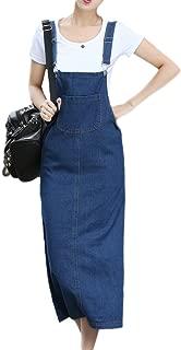 Women Denim Overall Dress Jeans Jumper Adjustable Pinafore Dresses Skirt