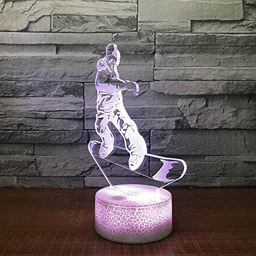 XYCSM 7 Farbe 3D-Touch/Fernbedienung Laden Skateboard-Nachtlicht-Kinder Nachttischlampe Halloween Schlaf Emotional Lichter gfdgwsdfsaffhd/Schwarze Basis/Ber