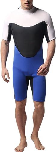 Sidiou Group Combinaison de plongée Wetsuit pour Hommes Costume Humide à Manches Courtes Combinaison de Printemps 3 mm Maillot de Bain Skin pour Natation Plongée Surf