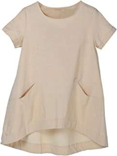 Women's Cotton Linen Short Sleeve Tunic/Top Tees