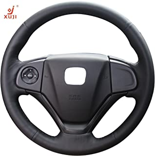 Hand Sewing Black Genuine Leather car Steering Wheel Cover for Honda CRV 2012/Honda CR-V 2012/Honda CRV 2013/Honda CRV 2014 /Honda CRV 2015 /Honda CR-V 2013 /Honda CR-V 2014/Honda CR-V 2015