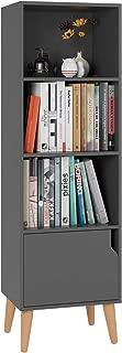 Homfa 4 Tier Floor Cabinet,Free Standing Wooden Display Bookshelf with 4 Legs and 1 Door, Side Corner Storage Cabinet Decor Furniture for Home Office, Gray