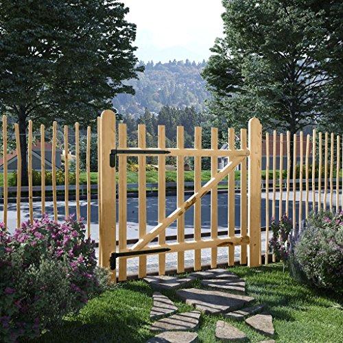 Tidyard Gartentor Zauntor Einflügelig Haselnussholz Gartentür Zauntür Pforte Holztor 100 x 100 cm für Garten Zugang oder Terrasse