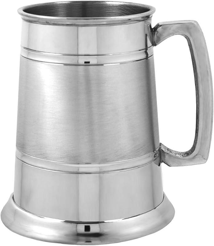 English Pewter Company 1 Pint Pewter Beer Mug Tankard With Elegant Satin Band EP063