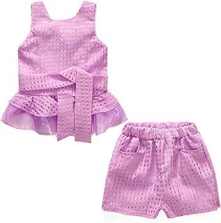 CASUALBOYS Chica 2 Piezas Traje Transpirable Chaleco De Encaje A Cuadros + Pantalones Cortos Pink-110