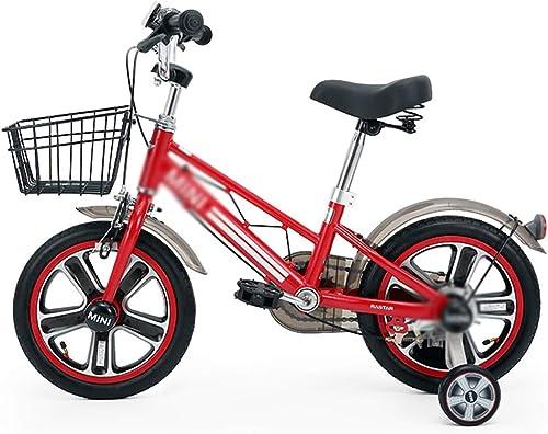 Vélos enfants Vélo étudiant vélo Garçon Garçon vélo Fille vélo Amortisseur vélo 14 Pouces, avec Panier Peut être installé Roue auxiliaire (Couleur   rouge, Taille   98  41  71cm)