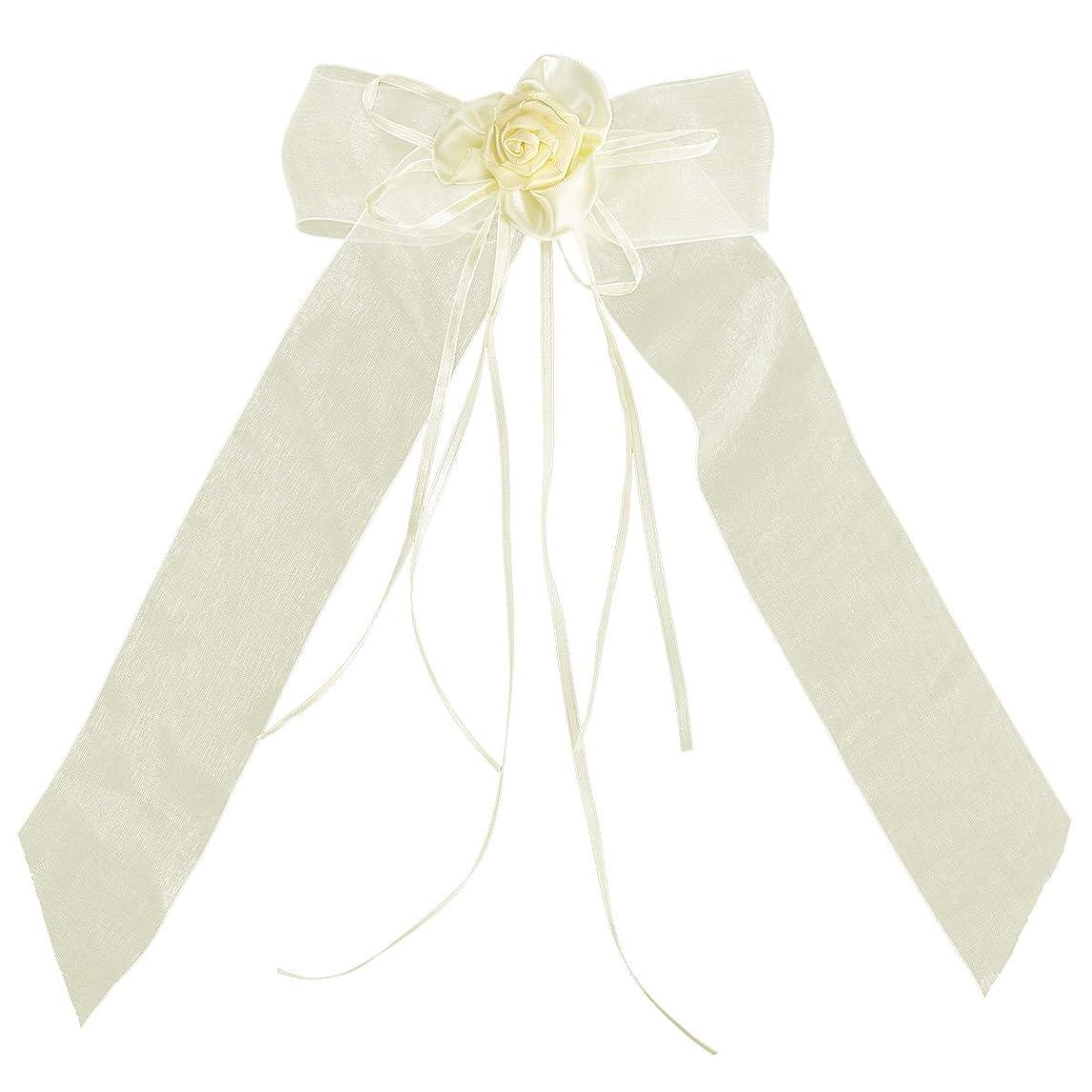 4x Organza Satin Ribbon Bows Bowknot Rosette Wedding Cars Gift Wrap Decoration (13x30cm, beige)