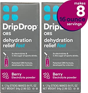 DripDrop ORS - Patented Electrolyte Powder for Dehydration Relief fast - For Heat Exhaustion, Hangover, Illness, Sweating & Travel Recovery, Berry Flavor 2 Pack, Makes (8) 16oz Servings