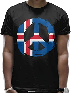 Youbah-01 Mens Iceland Flag Peace Cool Short Sleeve T Shirt